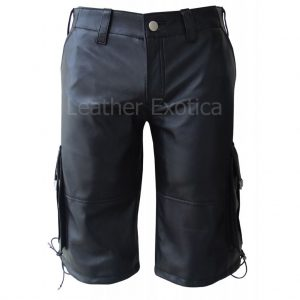 Cargo Style Men Black Leather Shorts