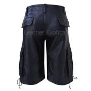 Cargo Style Men Black Leather Shorts  back