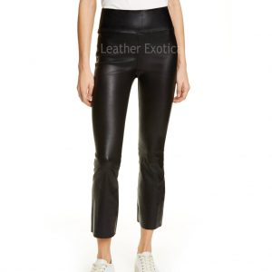 Crop Style Flared Women Leather Pants