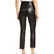 Crop Style Flared Women Leather Pants back