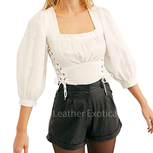 Cuffed Hem Women Leather Shorts