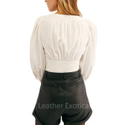 Cuffed Hem Women Leather Shorts back