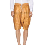 Drawstring Closure Cargo Style Men Leather Short