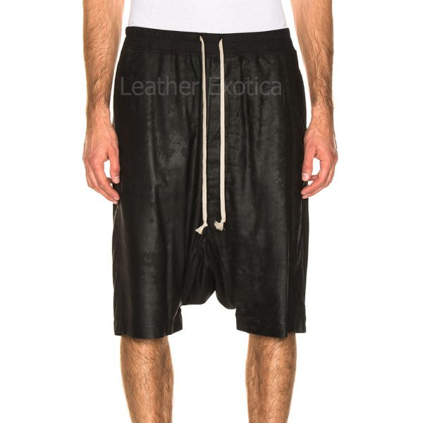 Drawstring Elastic Waist Men Leather Shorts