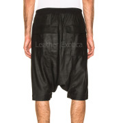 Drawstring Elastic Waist Men Leather Shorts back
