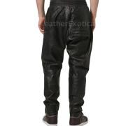 Elastic Waist Men Cargo Leather Pants