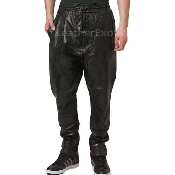 Elastic Waist Men Cargo Leather Pants s
