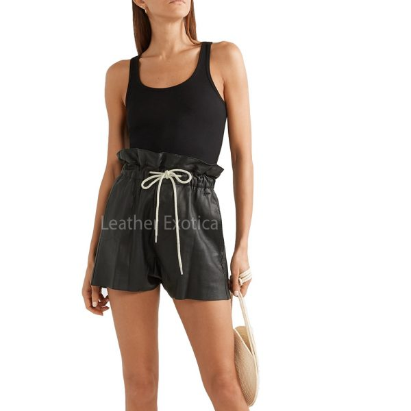 Elasticated Drawstring Waistband Women Leather Short