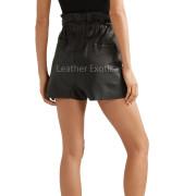Elasticated Drawstring Waistband Women Leather Shortback