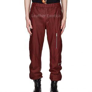 Elasticized Waist Men Leather Jogger Pants
