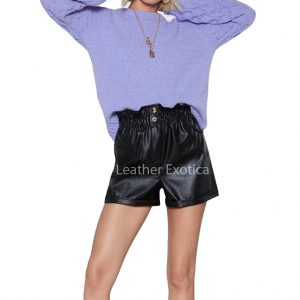 Elasticized Waist Women Mini Black Leather Shorts