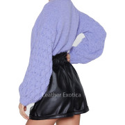 Elasticized Waist Women Mini Black Leather Shorts back