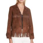 Fringe Detailing Women Suede Leather Jacket