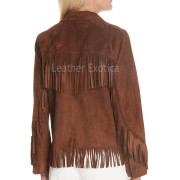 Fringe Detailing Women Suede Leather Jacket back