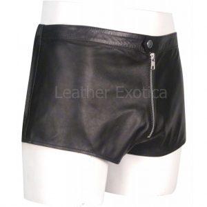 Front Zipper Closures Men Leather Shorts