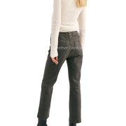 High-Rise Cropped Leather Pants back