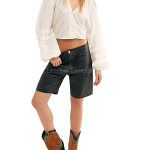 High Rise Women Leather Shorts