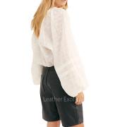 High Rise Women Leather Shorts back