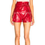 High Waist Women Red Leather Shorts