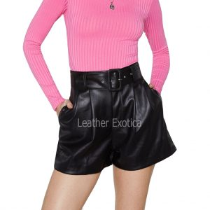 High-Waisted Pleats Detailing Women Leather Shorts