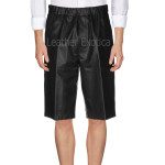 Knee Length Men Leather Shorts