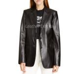 Notch Collar Lamb Skin Women Leather Blazer