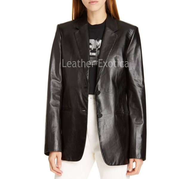 Notch Collar Women Lamb Skin Leather Blazer