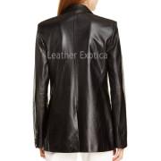 Notch Collar Women Lamb Skin Leather Blazer back