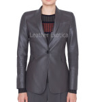 Perforated Leather Blazer for Women