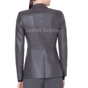 Perforated Leather Blazer for Women back