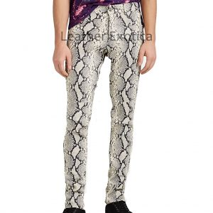 Python Print Leather Trousers For Men