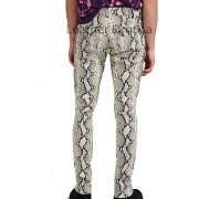 Python Print Leather Trousers For Men back