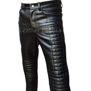 Quilted Design Men Motorcycle Bikers Leather Pants