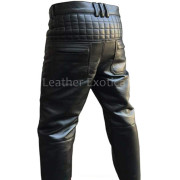 Quilted Design Men Motorcycle Bikers Leather Pants back