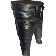 Quilted Design Men Motorcycle Bikers Leather Pants sss