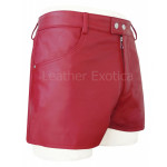 Red Leather Shorts For Men With Two Pocket