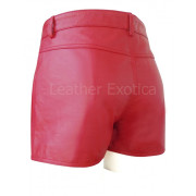 Red Leather Shorts For Men With Two Pocket back