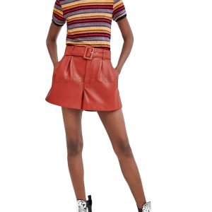 Red Leather Shorts For Women