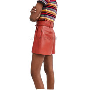 Red Leather Shorts For Women back