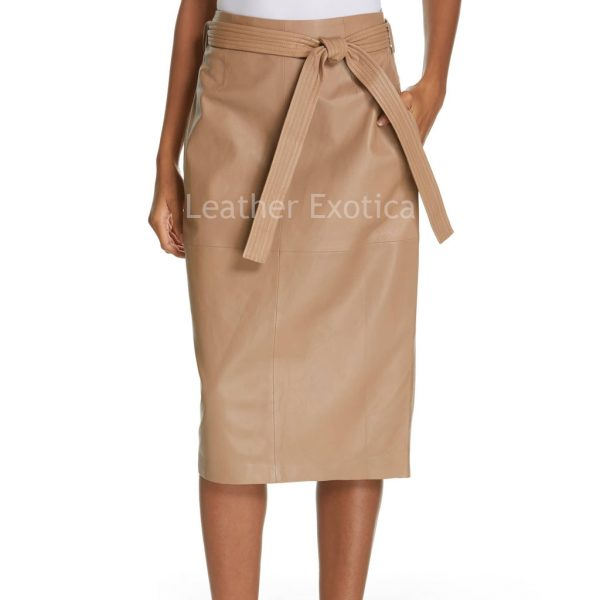 Removable Tie Belt Pencil Leather Skirt