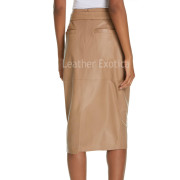 Removable Tie Belt Pencil Leather Skirt  back