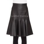 Ruffled Hem Women Leather Skirt