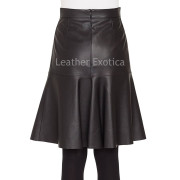 Ruffled Hem  women Leather Skirt back