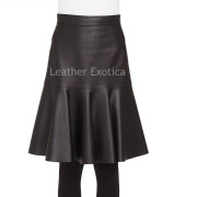 Ruffled Hem  women Leather Skirt