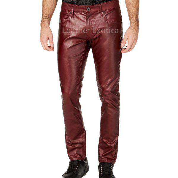 Slim-Fit Men Faux Leather Pants