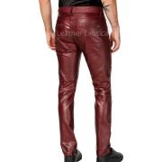 Slim-Fit Men Faux Leather Pants back