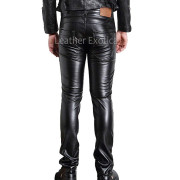 Slim Fit Straight Leg Men Biker Leather Pants back