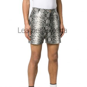 Snake Print Men Leather Shorts