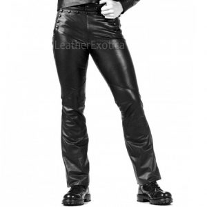 Studs Detailing Men Leather Trousers