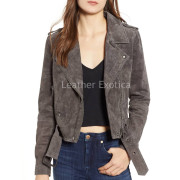 Suede Leather Moto Jacket For Women